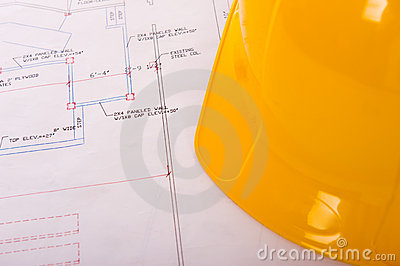 Hard Hat and Blueprints