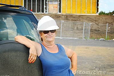 Hard hat female boss