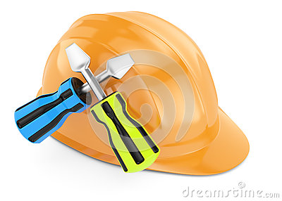 Hard hat and screwdrivers