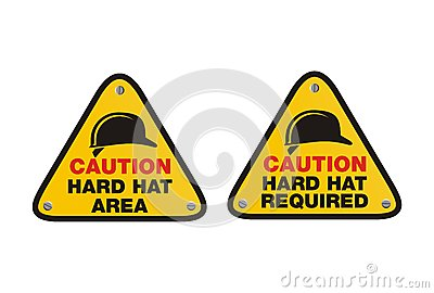 Hard hat sign - triangle signs