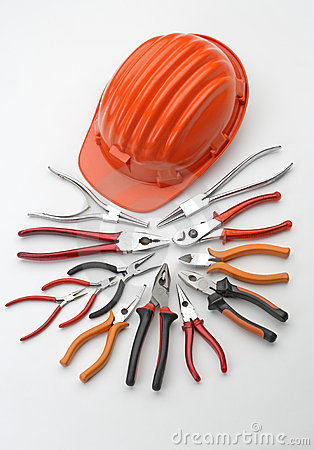 Free Hard Hat With Pliers And Tongs Royalty Free Stock Photo - 5341865