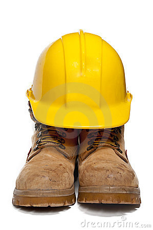 Hard Hat And Work Boots Stock Photo Image 24001310