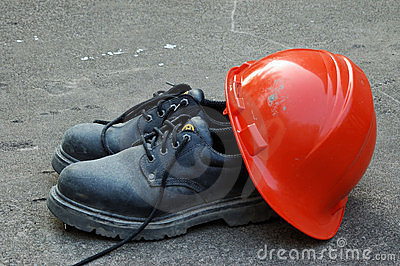 Hard Hat and Work Shoes