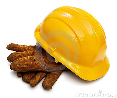 Hard hat and workers gloves