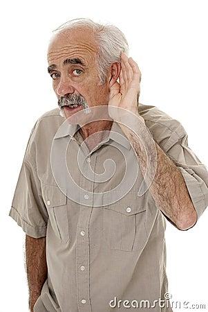 Hard of hearing senior