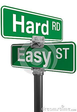 Hard Road Easy Street sign choice
