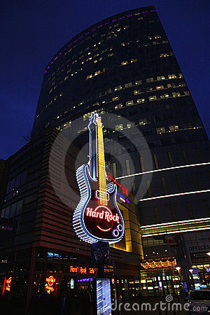 Hard Rock Cafe signboard in Warsaw Editorial Image