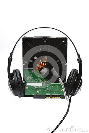 Harddisk with headphone