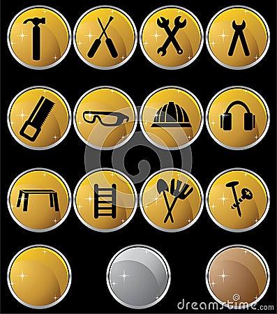 Hardware Icon Set: Gold Button Series - Round
