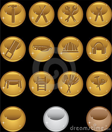 Hardware Icon Set: Round Web Button Series - Gold