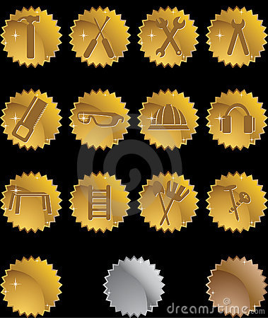 Hardware Icon Set: Seal Button Series - Gold
