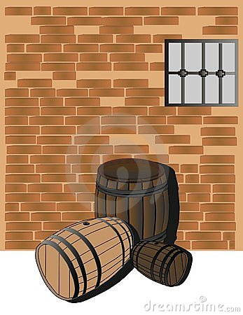 Hardwood barrels in a cellar