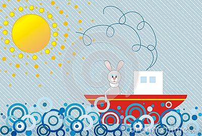 Hare floating by a ship