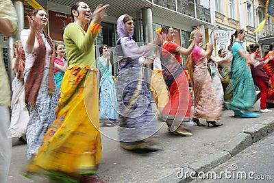 Hare Krishna followers Editorial Photo