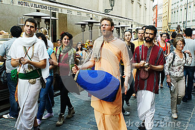 Hare Krishna street mini parade Editorial Stock Image