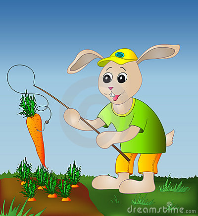 Free Hare With A Fishing Tackle And A Carrot Royalty Free Stock Image - 13847266