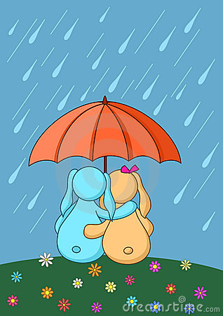 Hares enamoured under umbrella