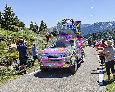 Haribo Car in Pyrenees Mountains Editorial Photo