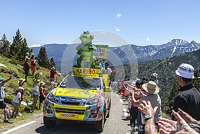 Haribo Car in Pyrenees Mountains Editorial Image