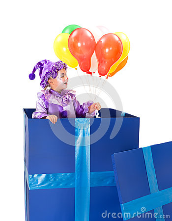 Harlequin with balloons
