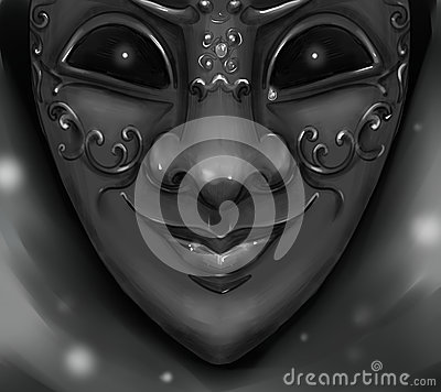 Harlequin carnival mask with shining evil eyes