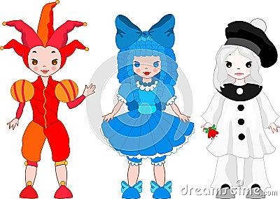 Harlequin, Columbina, Pierrot