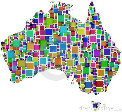 Harlequin mosaic of Australia map
