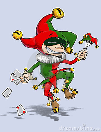 Harlequin Red green dances with Cards & Marionette