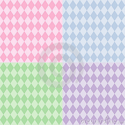 Harlequin Seamless Patterns, Pastels
