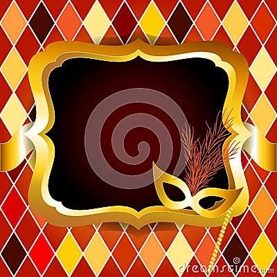 Harlequin or venitian carnival ball invitation