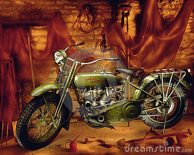 Harley Davidson motorcycle - Vintage 1910 Editorial Stock Photo