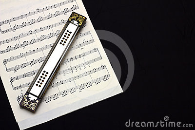 Harmonica on sheet music