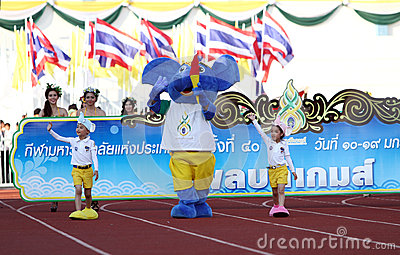 Harmonious(Blue elephant) The symbol of competition 40th Thailand University Games Editorial Photography