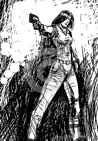 Free Harmonous Girl Who Aims A Gun Royalty Free Stock Photo - 48417225