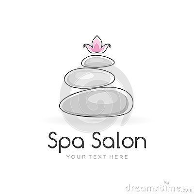 Harmony spa logo template for spa salon with the balancing stones and lotus flower on the top. Vector Illustration