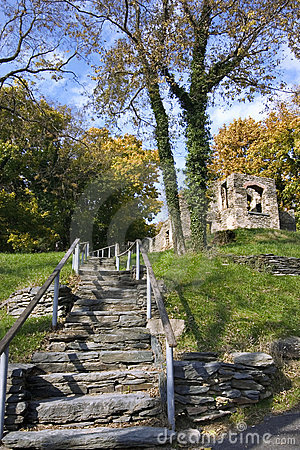 Harpers ferry ruins in autumn day