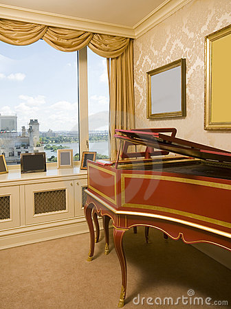 Harpsichord bedroom river view new york city