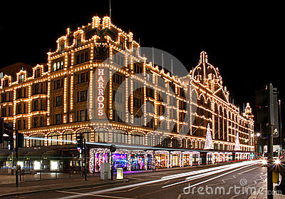 Harrods night Editorial Stock Photo