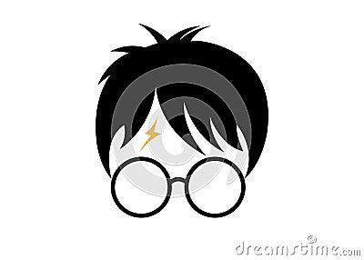 Harry Potter cartoon icon, minimal style vector Vector Illustration