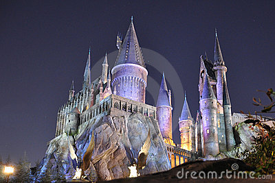Harry Potter Castle in Universal Orlando at night Editorial Photography
