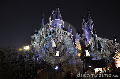 Harry Potter Castle in Universal Orlando at night Editorial Stock Photo