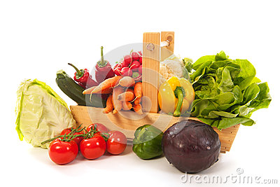 Harvest basket fresh vegetables