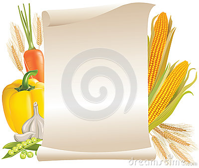 Harvest cereals and vegetable scroll