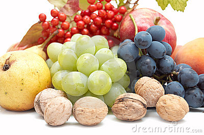 Harvest: fresh autumn fruits on white background