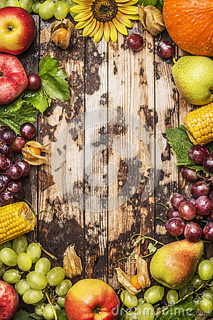 Free Harvest Fruits, Berries And Vegetables With Sunflower On A Rustic Wood Background, Frame, Top View Royalty Free Stock Photography - 58118817