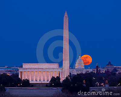 Harvest moon rising over Capitol in Washington DC