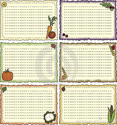 Harvest-theme Recipe Cards