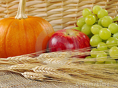 Harvest Time: Wheat with Apple, Grapes and Pumpkin