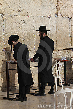 Free Hasidic Jews At The Western Wall Stock Images - 23886474