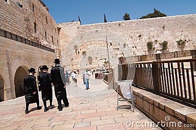 Hasidic Jews at Western Wall Editorial Image